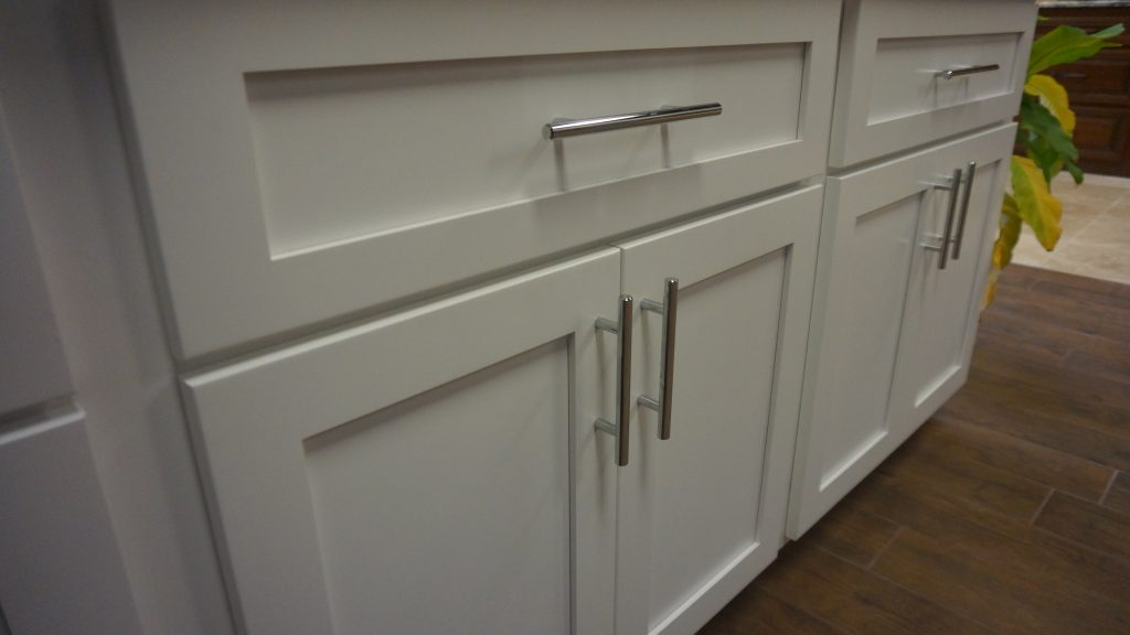 Go for a clean, modern look with white cabinet doors!