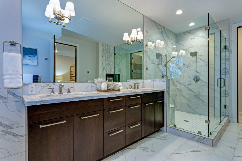 Dark brown stained bathroom cabinets