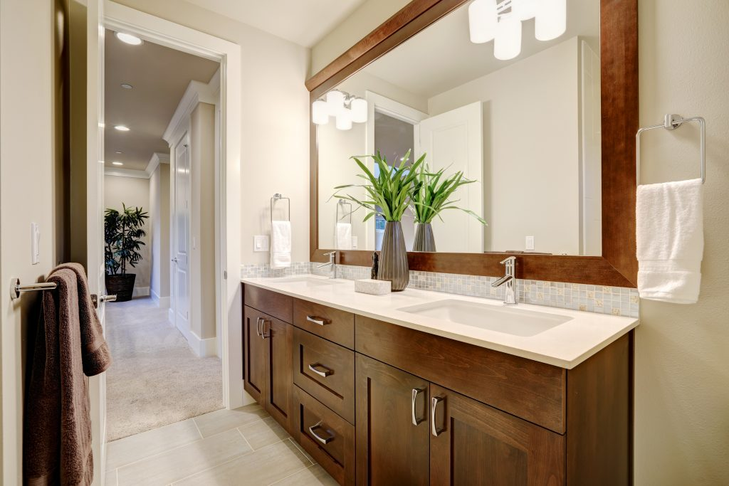 brown stained bathroom cabinets