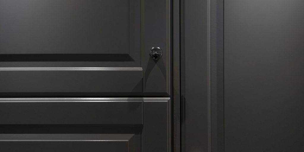 Dark grey raised panel doors